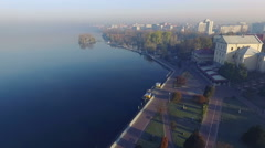 Aerial view of the picturesque town Ternopil, Ukraine Stock Footage