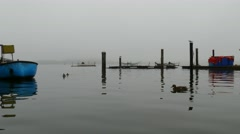 Small fishing port Stock Footage