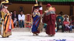 Tibetan lamas dancing in Buddhist festival at Hemis Gompa, Ladakh, India Stock Footage
