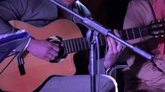 man play guitar and woman sing poetry. 4K - stock footage