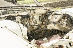 Car wreck crash crush die collision drunk damage fix loss Stock Photos