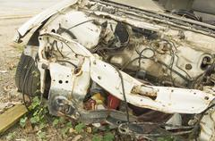 car wreck crash crush die collision drunk damage fix loss - stock photo