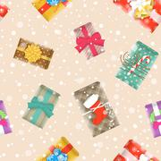 Christmas gifts festive seamless background pattern - stock illustration