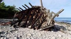 Shipwreck of schooner Swiks Stock Footage