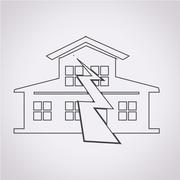 Earthquake Symbol icon - stock illustration