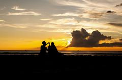 Silhouette emotion of relax - stock photo
