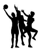 Stock Illustration of Silhouette of korfball ladies league girl players catching ball