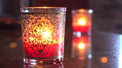 Orange Tea Light Candles In Ornate Holders Stock Footage