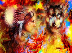 young indian woman wearing  with  wolf and feather headdress and abstract color - stock illustration