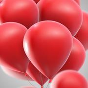 vector holiday illustration of flying realistic glossy balloons - stock illustration