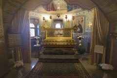 SUZDAL, RUSSIA - 06.11.2015. The relics of St. Arseny Elassonsky in the Church - stock photo