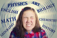 Teenager under severe stress from studying - stock photo