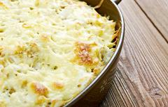 Casserole with fish and pasta - stock photo