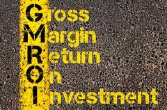 Business Acronym GMROI as Gross Margin Return On Investment Stock Photos