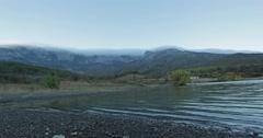 Timelapse  Lake Hun Crimea near the mountains Stock Footage