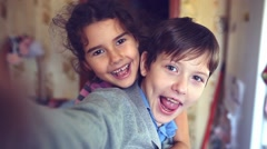 boy girl self hugging shout brother and sister happiness - stock footage