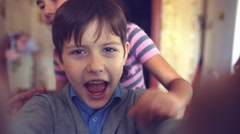 boy girl hugging shout brother self and sister happiness - stock footage