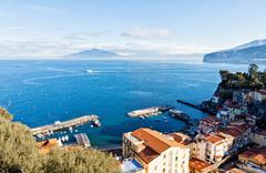 Sorrento city, Gulf of Naples and Mount Vesuvius, Italy Stock Photos