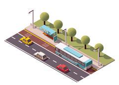 Vector isometric bus stop - stock illustration