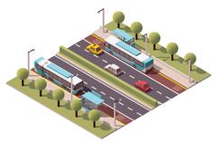 Vector isometric bus stop - stock illustration