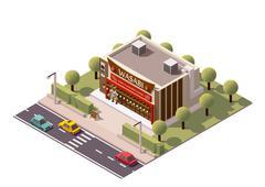 Vector isometric sushi restaurant Stock Illustration