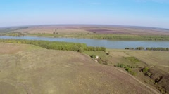 Uncovered ruins of a roman castrum along the Danube floodplain,aerial view. Stock Footage