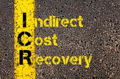 Business Acronym ICR as Indirect Cost Recovery Stock Photos