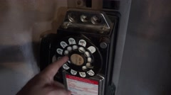 POV Using Old Rotary Pay Phone Stock Footage
