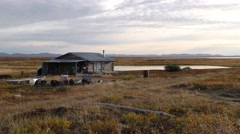 Hunting and Fishing Shack in Alaska Wilderness - stock footage