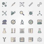 Biotechnology flat icons Stock Illustration