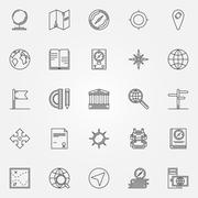 Geography icons set Stock Illustration