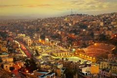 Night lights of Amman - capital of Jordan Stock Photos