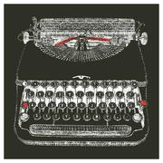 Typewriter typed negative - stock illustration