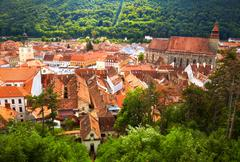 Historic city center in Brasov (Kronstadt). Transylvania, Romania Stock Photos