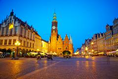 The market square at night time. Wroclaw, Poland. - stock photo