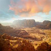 Red rock formations in Petra, Jordan. Stock Photos