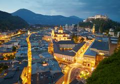 Night view of Salzburg, Austria Stock Photos