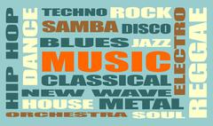 Music relative words cloud Stock Illustration