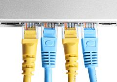 Router with wires closeup Stock Photos
