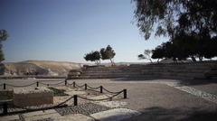 David Ben-Gurion grave at Kibbutz Sde Boker, Israel Negev desert, pan left Stock Footage