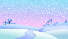 Winter smowy landscape Stock Illustration