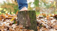 Yoga exercise on a tree stump in autumn Stock Footage