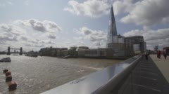 Time lapse view from London Bridge, with River Thames, The Shard and Tower Br Stock Footage