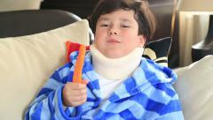 Sick child with neck brace 4 Stock Footage
