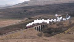 Steam Train Crossing Lunds Viaduct. Stock Footage