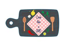 Cooking in kitchen top view banner text space. Cutting board - stock illustration