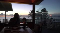 Working in Paradise, break of dawn Stock Footage