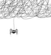 vector cartoon of cute hanging spider and web network - stock illustration