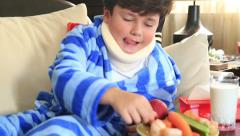 Sick child with neck brace 7 Stock Footage