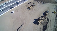 Aerial shot of construction on the 5 freeway near burbank Stock Footage